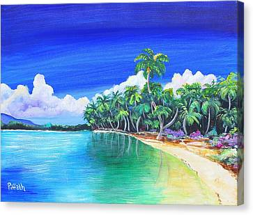 Canvas Print featuring the painting Crescent Beach by Patricia Piffath