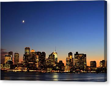 Crescent Moon Over Boston At Dusk From East Boston Canvas Print by Toby McGuire