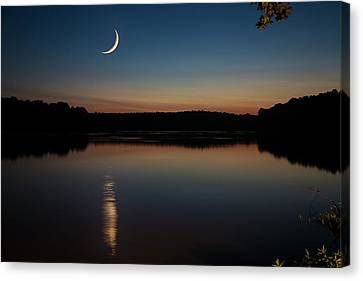 Canvas Print featuring the photograph Crescent Moon Set At Lake Chesdin by Jemmy Archer