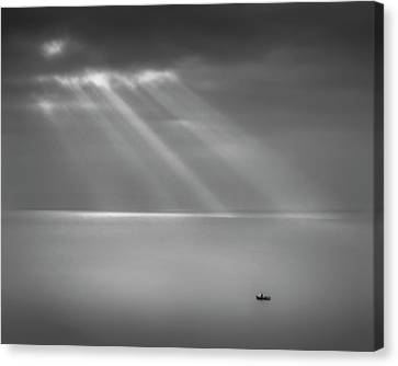 Crespecular Rays Over Bristol Channel Canvas Print by Paul Simon Wheeler Photography