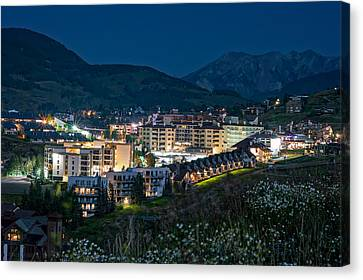 Crested Butte Village Under Full Moon Canvas Print by Michael J Bauer