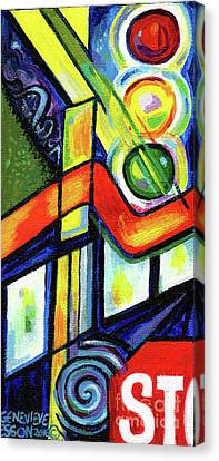 Creve Coeur Streetlight Banners Whimsical Motion 17 Canvas Print by Genevieve Esson