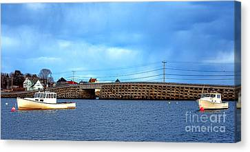 Cribstone Bridge And Boats On Bailey Island Canvas Print by Olivier Le Queinec