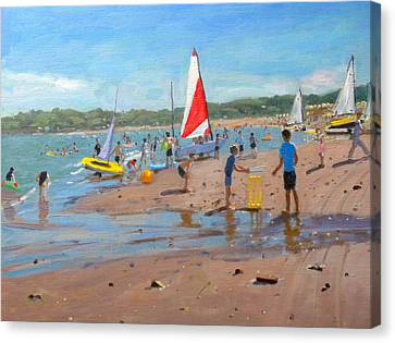 Cricket And Red And White Sail Canvas Print by Andrew Macara