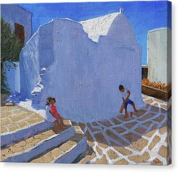 Cricket By The Church Wall, Mykonos  Canvas Print by Andrew Macara