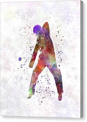 Cricket Player Batsman Silhouette 02 Canvas Print