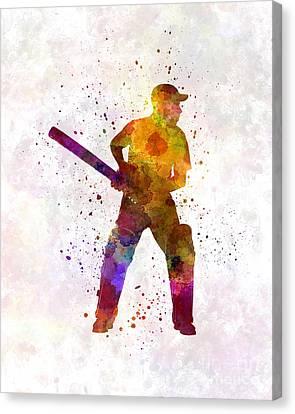 Cricket Player Batsman Silhouette 07 Canvas Print