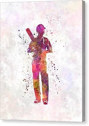 Cricket Player Batsman Silhouette 10 Canvas Print