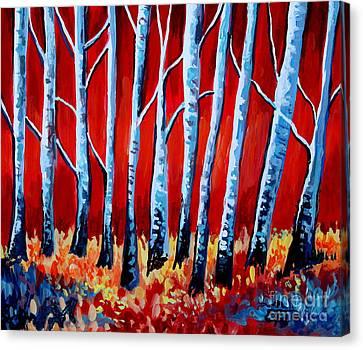 Crimson Birch Trees Canvas Print by Elizabeth Robinette Tyndall