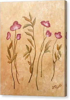 Crimson Lilies Canvas Print - Crimson Flowers by Angeles M Pomata