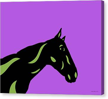 Crimson - Pop Art Horse - Black, Greenery, Purple Canvas Print
