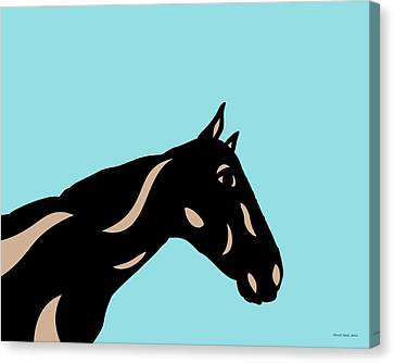 Crimson - Pop Art Horse - Black, Hazelnut, Island Paradise Blue Canvas Print