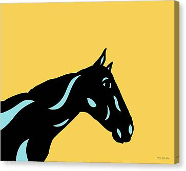Crimson - Pop Art Horse - Black, Island Paradise Blue, Primrose Yellow Canvas Print