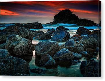 Beach Landscape Canvas Print - Crimson Skies by Rick Berk