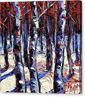 Crimson Wood - Impasto Etude Palette Knife Oil Painting Canvas Print by Mona Edulesco