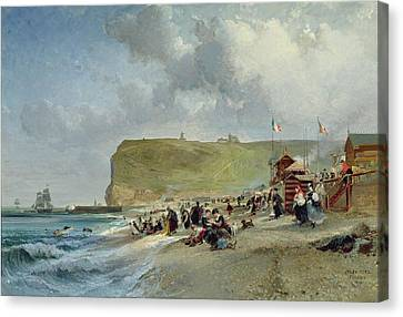 Crinolines On The Beach At Fecamp Canvas Print by Jules Achille Noel