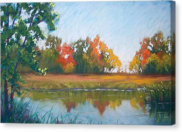 Crisp Autumn Morning Spears Woods Canvas Print by Christine Camp