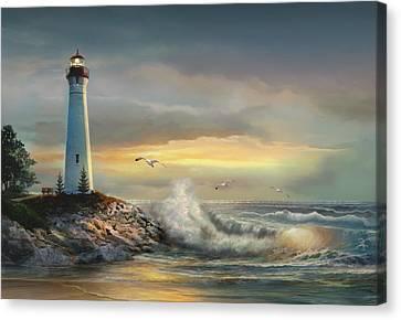 Crisp Point Lighthouse At Sunset  Canvas Print