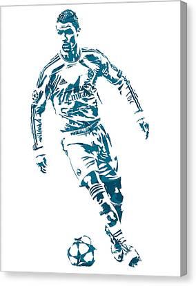 Cristiano Ronaldo Canvas Print - Cristiano Ronaldo Real Madrid Pixel Art 1 by Joe Hamilton