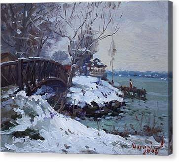 Cristmas Eve In Niawanda Park Canvas Print by Ylli Haruni