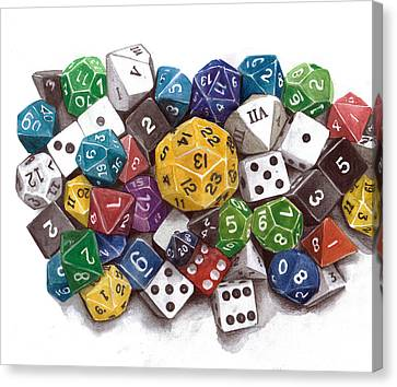 Critical Hit Polyhedral Dice Canvas Print