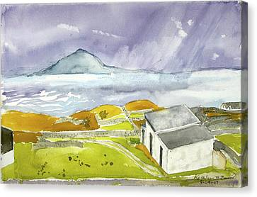 Croagh Patrick And Purple Sky Canvas Print