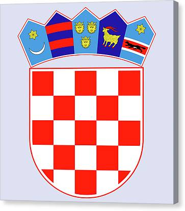 Canvas Print featuring the drawing Croatia Coat Of Arms by Movie Poster Prints