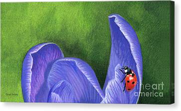 Crocus And Ladybug Detail Canvas Print by Sarah Batalka