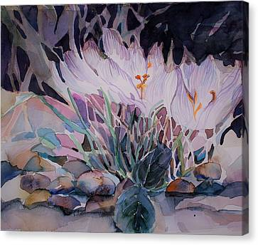 Canvas Print featuring the painting Crocuses by Mindy Newman
