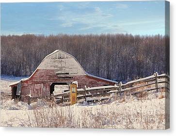 Red Barn In Snow Canvas Print - Crooked Fence Farm by Benanne Stiens