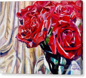 Canvas Print featuring the painting Crimson  Petals by Rebecca Glaze