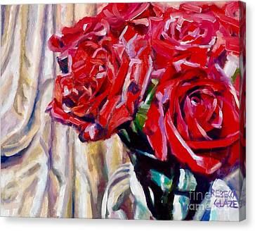 Crimson  Petals Canvas Print by Rebecca Glaze