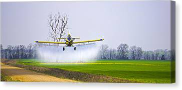 Precision Flying - Crop Dusting 1 Of 2 Canvas Print by Charlie Brock