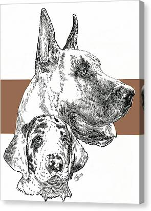 Working Dog Canvas Print - Cropped Great Dane And Pup by Barbara Keith