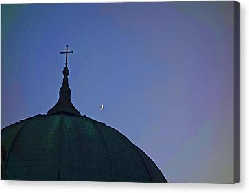 Angelical Canvas Print - Cross And Moon by Joan Reese