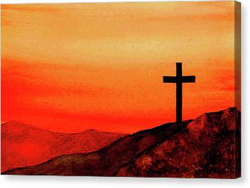 Cross At Sunset Canvas Print by Michael Vigliotti