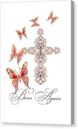 Cross Born Again Christian Inspirational Butterfly Butterflies Canvas Print