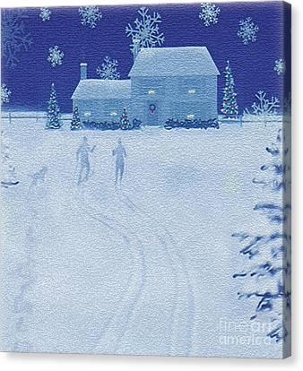 Snowy Night Night Canvas Print - Cross-country  by Jim Rehlin
