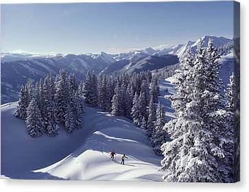 Cross-country Skiing In Aspen, Colorado Canvas Print by Annie Griffiths