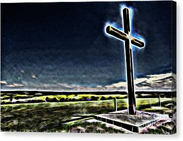 Canvas Print featuring the photograph Cross On The Hill by Douglas Barnard