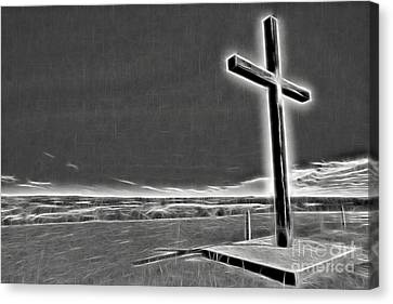 Canvas Print featuring the photograph Cross On The Hill V2 by Douglas Barnard