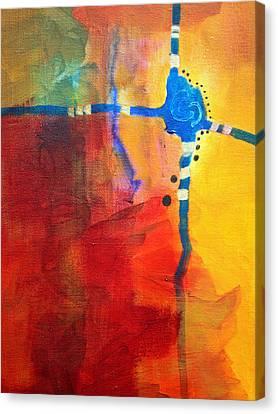 Crossed Abstract Cruciform Painting Canvas Print by Nancy Merkle