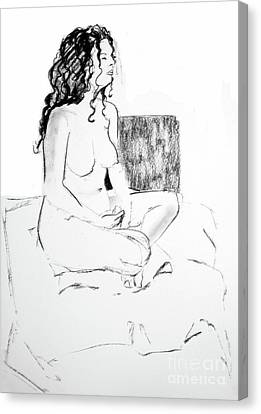 Crossed Legged Nude Canvas Print by Joanne Claxton