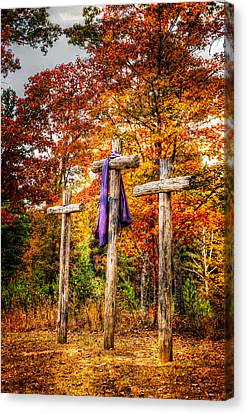 The Wooden Cross Canvas Print - Crosses On The Hill by Debra and Dave Vanderlaan