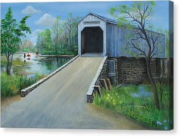 Crossing At The Covered Bridge Canvas Print by Oz Freedgood