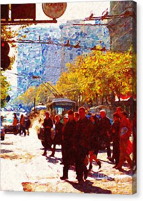Crossing Market Street 2 . Photo Artwork Canvas Print by Wingsdomain Art and Photography