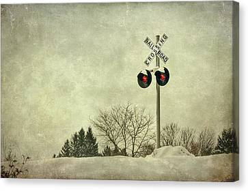 Train Tracks Canvas Print - Crossing Over by Evelina Kremsdorf