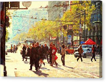 Crossing San Francisco Market Street Canvas Print by Wingsdomain Art and Photography
