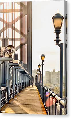 Philadelphia Phillies Canvas Print - Crossing The Benjamin Franklin Bridge by Bill Cannon