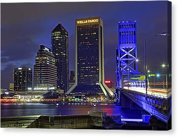 Crossing The Main Street Bridge - Jacksonville - Florida - Cityscape Canvas Print by Jason Politte